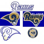 St. Louis Rams 5 logos machine embroidery designs for instant download